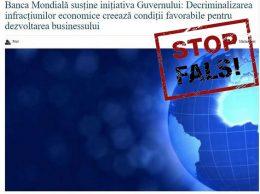 Reprezentanța Băncii Mondiale susține necondiționat inițiativa decriminalizării infracțiunilor economice