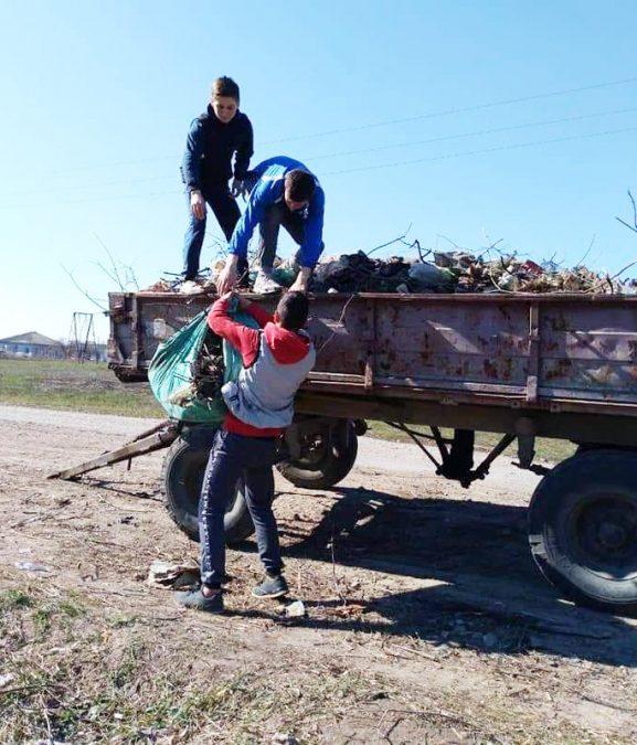 Погрузка мусора на трактор