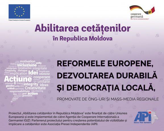REFORMELE EUROPENE, DEZVOLTAREA DURABILĂ ȘI DEMOCRAȚIA LOCALĂ VOR FI PROMOVATE DE ONG-URI ȘI MASS-MEDIA REGIONALE