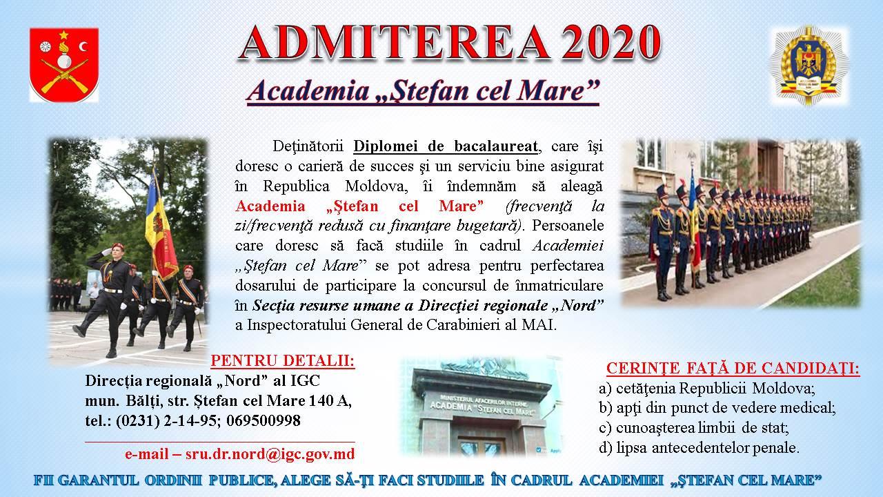 """Admiterea 2020, Academia """"""""Ștefan cel Mare"""""""